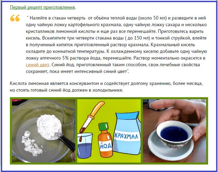 Синий йод рецепт приготовления